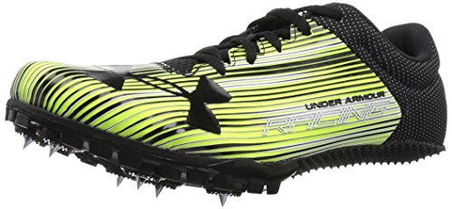 Under Armour Men's Kick Sprint Spike Running Shoe, High-Vis Yellow (300)/White, 8.5