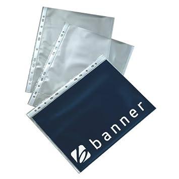 Pancarta decorativa para fundas perforadas para archivador A4 42Mu económico naranja acabado transparente paquete de sobres con , 9410005 Lote de 100: ...