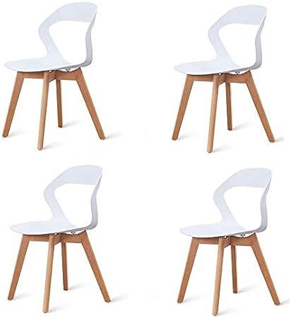 555 Un conjunto de 4 sillas de comedor/sillas de café, respaldo calado de madera maciza, estructura estable de ocio silla de comedor silla de comedor