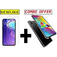 Newlike Samsung Galaxy M20, Tempered Glass & Back Cover, [Combo [Bumper] Premium Real 2.5D 9H Anti-Fingerprints & Oil Stains Coating Hardness Screen Protector Guard for Samsung Galaxy M20