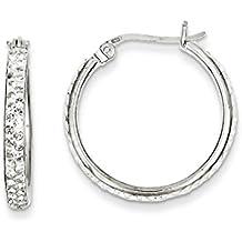 925 Sterling Silver White Swarovski Crystal Hoop Earrings Ear Hoops Set Fine Jewelry For Women Gift Set