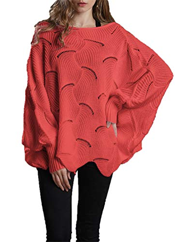 HZSONNE Women's Casual Boho Batwing Ruffle Hem Loose Fit Crochet Ripped Sweater Knit Pullover Tunic Jumper Tops (Living Coral, Small)