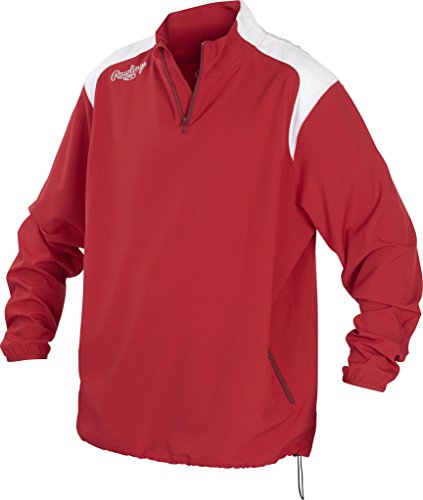 - Rawlings Unisex Youth Quarter Zip Long Sleeve Baseball Jacket, Scarlet, Medium