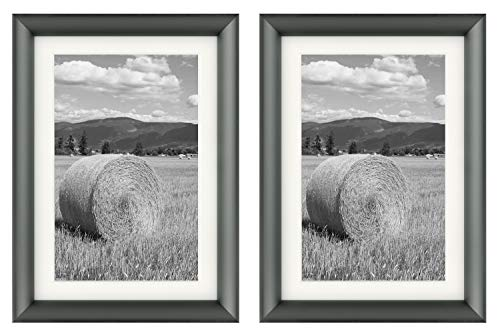 Set of Two, 5x7 Dark Grey Aluminum Photo Frame - Ivory Mat for 4x6 Picture - Easel Stand for Table/Desk Top - Curved Molding, Swivel Tabs, Real Glass - Landscape, Portrait (Dark Grey) (Collection Desktop)
