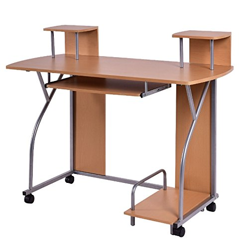 Wooden Rolling Computer Laptop Notebook PC Workstation Desk With Pull Out Keyboard Tray Printer Shelf Home Office Free Standing Furniture Spacious Work Station Easy Movement With 4 Wheels (Workstation Mounting Saw Tool Brackets)
