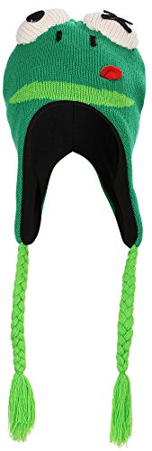 Simplicity Knit Pilot Animal Beanie Hat with Ear Flaps and Tassel, -