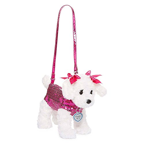 Poochie Maltese Plush Purse with Sequins Baby Toy, Pink