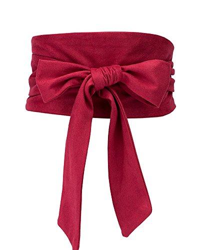 Aecibzo Women's Bowknot Self Tie Wrap Around Obi Waist Band Cinch Boho Waist Belt (Red)