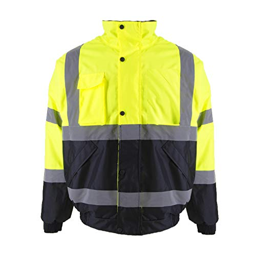 Safety Jacket Protective Bomber Jacket with Quilted Lining, ANSI Class 3 Waterproof Construction Warm Work Wear for Men (Small, Neon Orange)