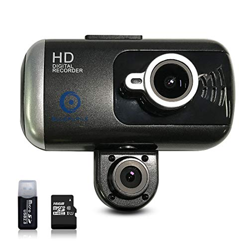 BLUEPUPILE Dash Cam 1080P Dual Lens Dashboard Camera Recorder 170° Wide Angle Lens 3 LCD Screen GPS