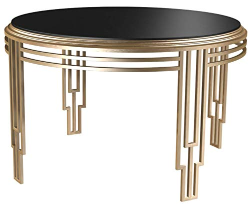 Bombay D2006TR0113 Art Deco Glass Top Round Dining Table, 4 Ft, Black, Brass Gold (Kitchen Round For Tables Glass)