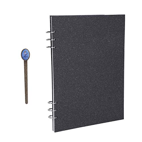 Hard Cover Loose Leaf Travel Journal 60 Sheets Unlined Notepad Refillable Notebook 6 Ring Bound Sketch Book A4 Blank Scrapbook Planner for Drawing, Take Note, Writing, 11.4