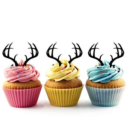 Deer Horn Antlers Silhouette Party Wedding Birthday Acrylic Cupcake Toppers Decor 12 pcs (Antlers Silhouette Deer)