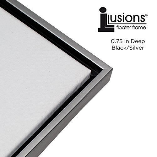 Creative Mark Illusions Floater Frame for 3/4 Inch Canvas 11X14 - Silver & Black Silver Rim Picture Frame