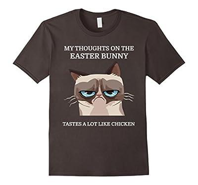 Grumpy Funny Cat T-Shirt Easter Bunny Chicken Humor Tee