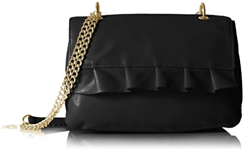T-Shirt & Jeans Chain Shoulder Bag with Ruffle, Black