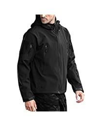 FREE SOLDIER Men's Outdoor Waterproof Soft Shell Hooded Military Tactical Jacket
