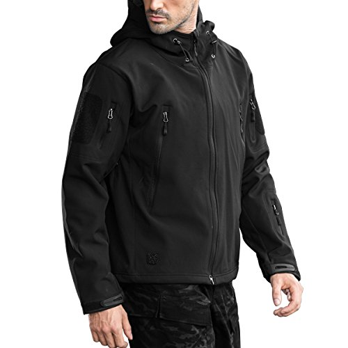 FREE SOLDIER Men's Outdoor Waterproof Soft Shell Hooded Military Tactical Jacket(Black M)