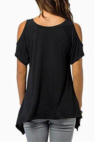 La Mujer Casual Hombro Frio Con Cuello En V Ireegular Loose T - Shirt Blusas Black