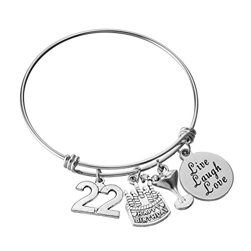 Miss Pink 22nd Birthday Jewelry Gifts for Women Stainless Steel Adjustable Wire Bangle Charm Bracelets