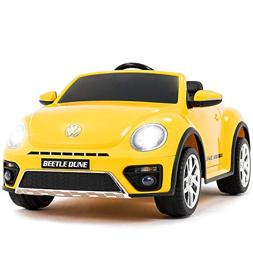Uenjoy Volkswagen Beetle 12V Kids Electric Ride on Cars Battery Powered Motorized Vehicles, Remote Control, Music, Bluetooth, Suspension, Double Door, Yellow (Best Remote Control Vehicle For 5 Year Old)