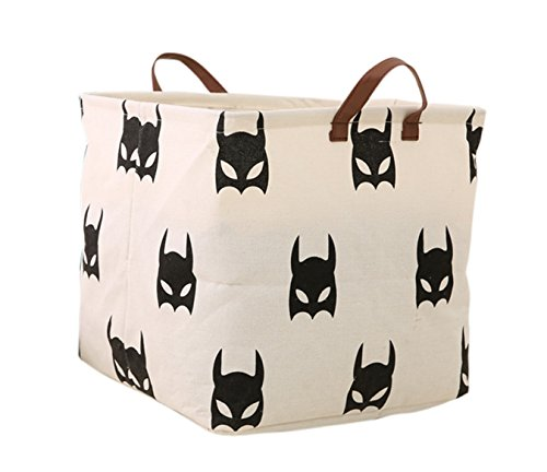 LANGYASHAN Square Storage Bins Waterproof Canvas Kids Laundry/Nursery Boxes for Shelves/Gift Baskets/Baby Shower Basket/Toy Organizer/Baby Room Decor(Bat)