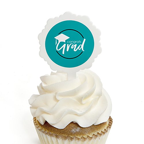Teal Grad - Best is Yet to Come - Cupcake Picks with Sticker