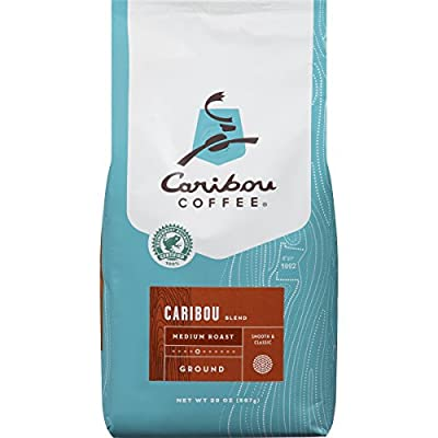 Caribou Coffee Caribou Blend, Medium Roast Ground Coffee, 20 Ounce Bag, Rainforest Alliance Certified from Caribou Coffee Bags