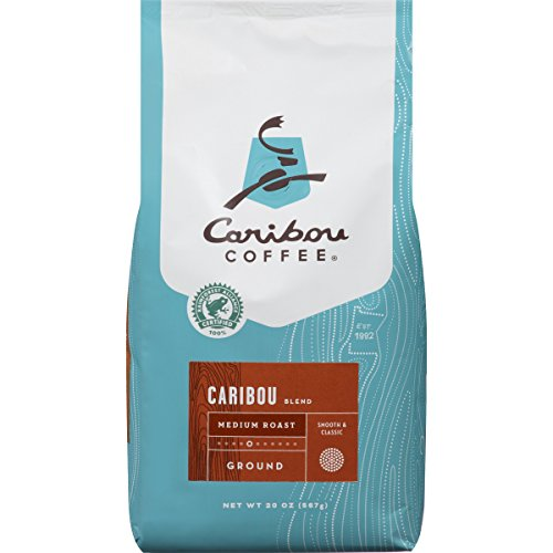 (Caribou Coffee Caribou Blend, Medium Roast Ground Coffee, 20 Ounce Bag, Rainforest Alliance Certified)