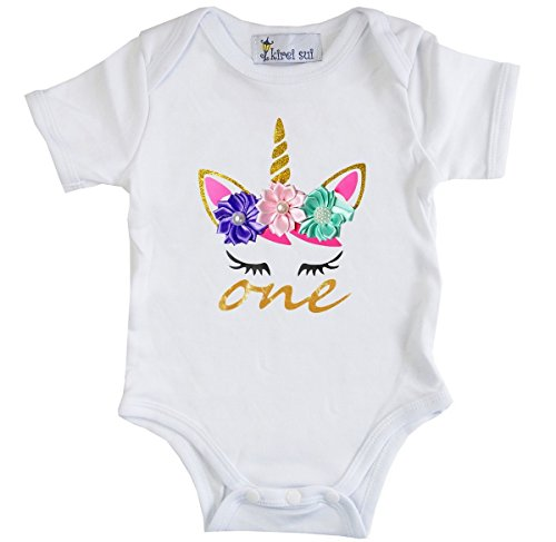 le Birthday Unicorn Flower Bodysuit M One Birthday ()