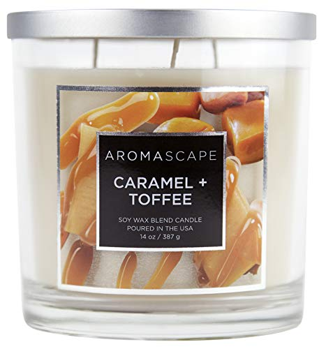 Aromascape 3-Wick Scented Jar Candle, Caramel & Toffee