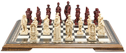 American Revolutionary War Chess Set - Handmade - Ivory and Burgundy - 4.25 Inches