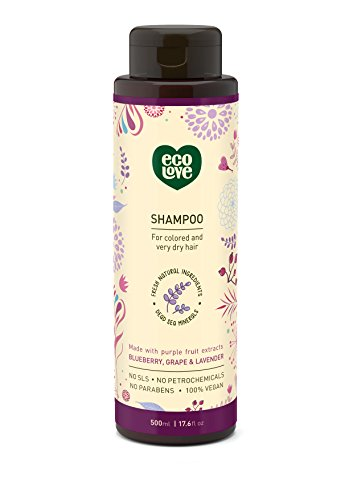 100% Vegan Shampoo by ecoLove | 17.6 oz. | Organic blueberry, grape & lavender For colored and very dry hair