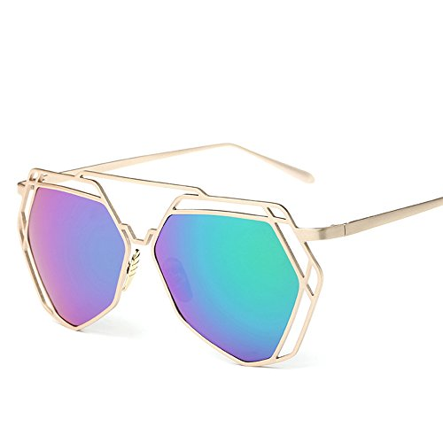 BVAGSS Fashion Mirrored Sunglasses Metal Frame Flat Women's sunglasses WS007 (Gold Frame, Green - Womens Sunglasses Lv