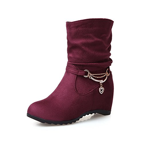 Round High Top Closed Frosted Heels Toe Low Boots Solid WeenFashion Women's Claret 8wxOqqa