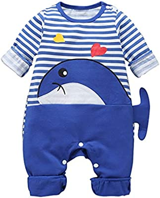 Unisex Baby Crew Neck Long Sleeve Pure Color Romper Baby Shark at A TIME Jumpsuit