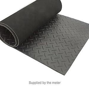 Delightful Black Diamond Checker Plate Rubber Mat Flooring   Supplied By The Metre (1  Metre Wide)