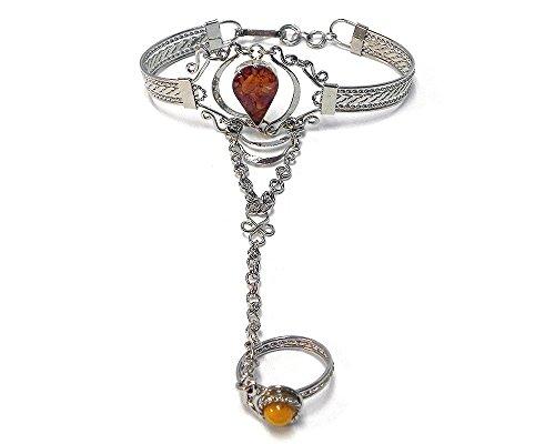 Mia Jewel Shop Teardrop Crushed Chip Stone Inlay Silver Cuff Harem Bracelet with Ring (Tan/Orange)