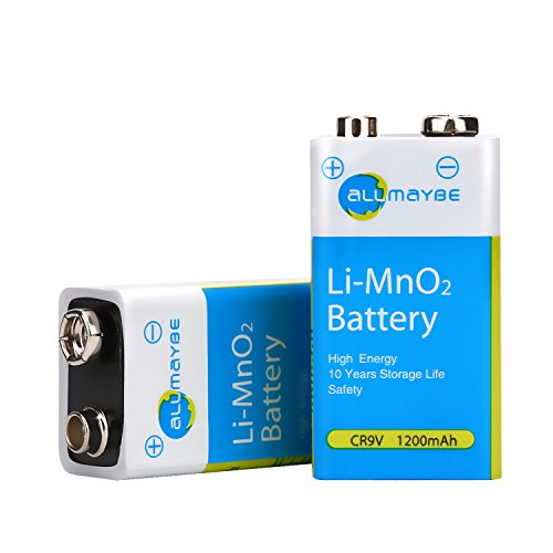 9 Volt Battery, Allmaybe Advanced 9V 1200mAh Lithium Batteries, 2 Counts