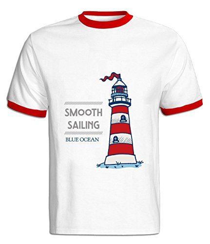 Crossing Mens Smooth Sailing Blue Ocean Desire Hit Color T Shirt XL red
