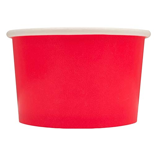 Red Paper Ice Cream Cups - 4 oz Small Dessert Bowls - Comes In Many Colors & Sizes! Frozen Dessert Supplies - Fast Shipping! 50 Count