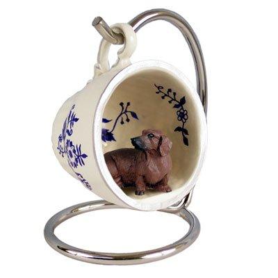 - Conversation Concepts Dachshund Red Tea Cup Blue Ornament