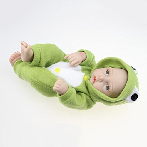 QXMEI 11inch Reborn Newborn Baby Dolls, Look Real Soft Silicone Lifelike Full Body Reborn Lively Naughty Baby Dolls for Toddler Boys Girls Gift 28 cm,Frog