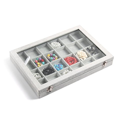 NEOTEND Glass Lid Jewelry Tray 24 Grid Velvet Showcase Display Organizer Gray by NEOTEND (Image #1)