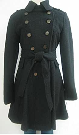 Amazon.com: Guess Belted Wool Coat, Jacket, Black, Meidum