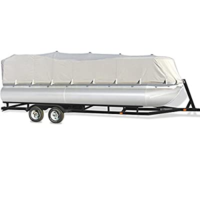 Pyle Armor Shield Trailer Guard Waterproof Pontoon Boat Cover, Marine Grade 300 Denier Polyester Cover, Ultimate Durability, and All Weather Protection, Full Size fits 17-20-Feet x 96-Inch (PCVHP440)