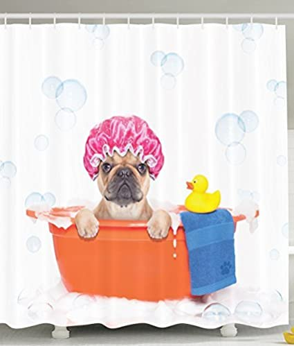 Gentil Ambesonne Cute Dog In Bathroom With Rubber Duck Having A Bath Print Lover  Funny Home Decorations