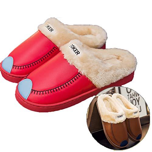 Hommes Rouge Peluche Mode Coton Chaussures Fond Pu Épais Et flop Pantoufles Imperméables Des La De Flip Avec Couple Femmes Chaudes En Hiver Marron Sac Intérieur Maison À Face gRF80f