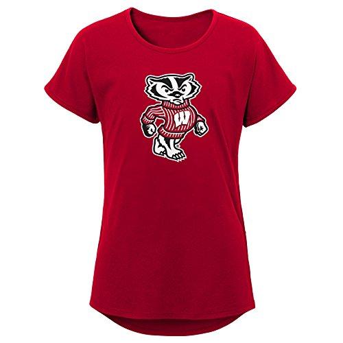 (Gen 2 Little NCAA Youth Girls Primary Logo Dolman Tee, Dark Red, Large (14))