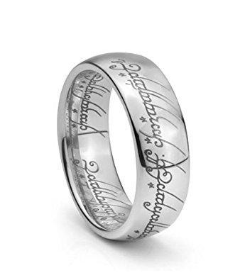 Plain Elvish Script Tungsten Carbide Men & Women Laser-etched Wedding Band Ring - Size 4-15.5- 7mm (7.5) -